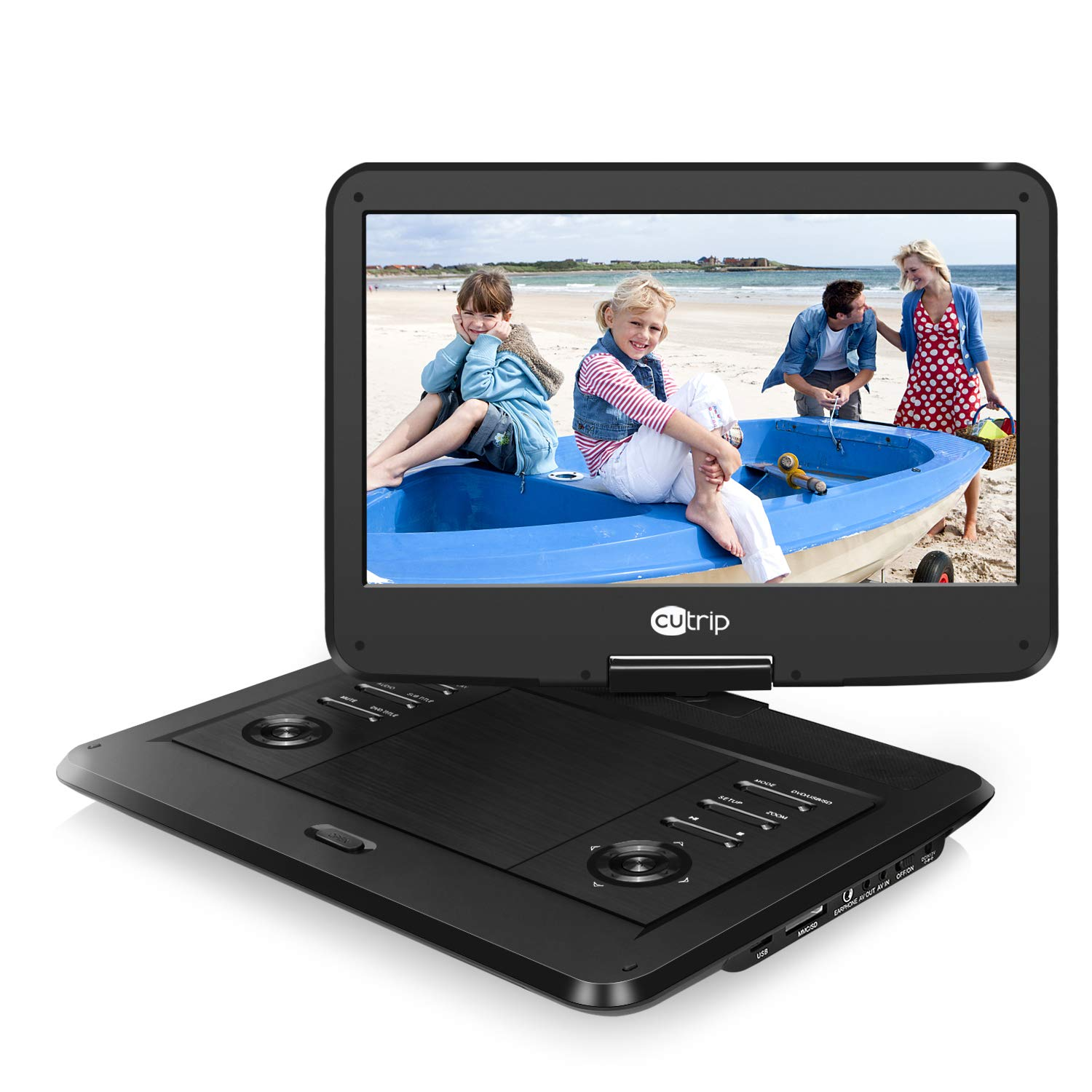 "14"" HD Portable DVD Player with 1920x1080 IPS LCD Screen, 178° Viewing Angles, 4000mAh Rechargeable Battery, Support USB/SD, AV in & Out, Region Free"