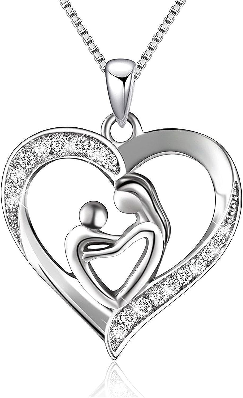 BGTY - Collar de plata esterlina 925 con colgante con forma de corazón