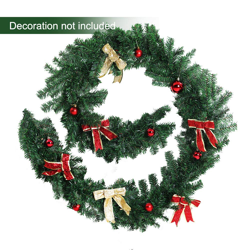 2 Pack Greenvelly 9 Foot Christmas Garland Traditional Wreath for Christmas or Wedding Party Home Garden Greenery Decorations Premium Quality Indoor Outdoor Xmas Door Stairs Fireplace