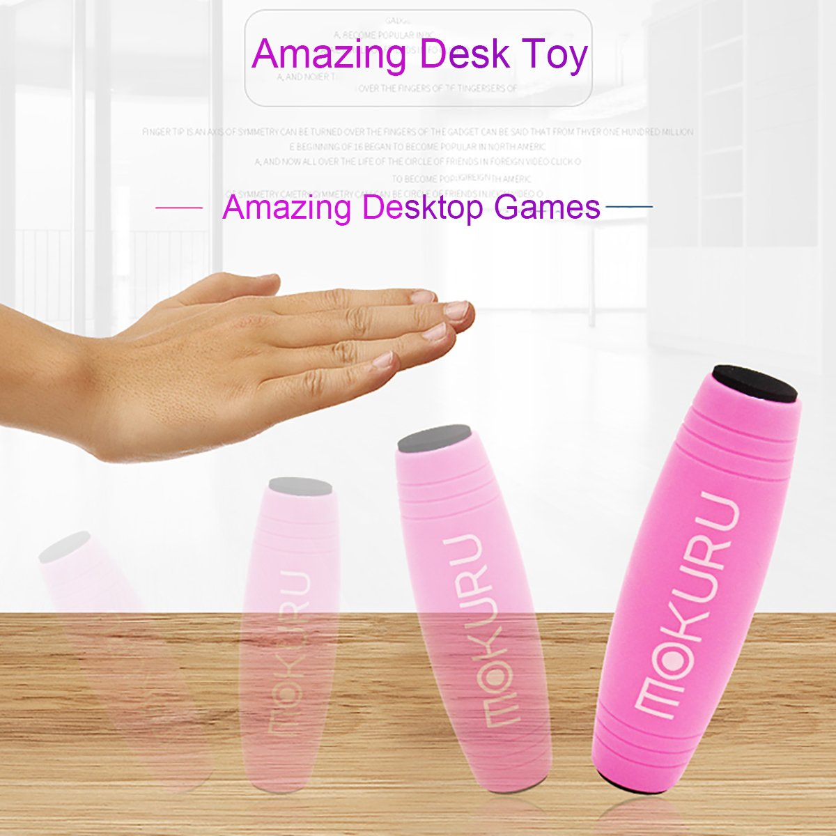 Amazing Desk Toy Cocoapa Mokuru, Exquisite and Compact Plastic Rolling Stick Toy Easy to Flip Roll, Anxiety Release for Office Home Party Class Bar (Yellow + LED)