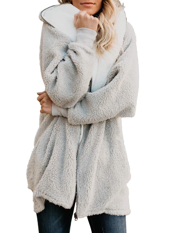 ReachMe Women's Oversized Full Zip Up Sherpa Hoodie Fleece Jacket with Pockets(Light Grey,XL) by ReachMe