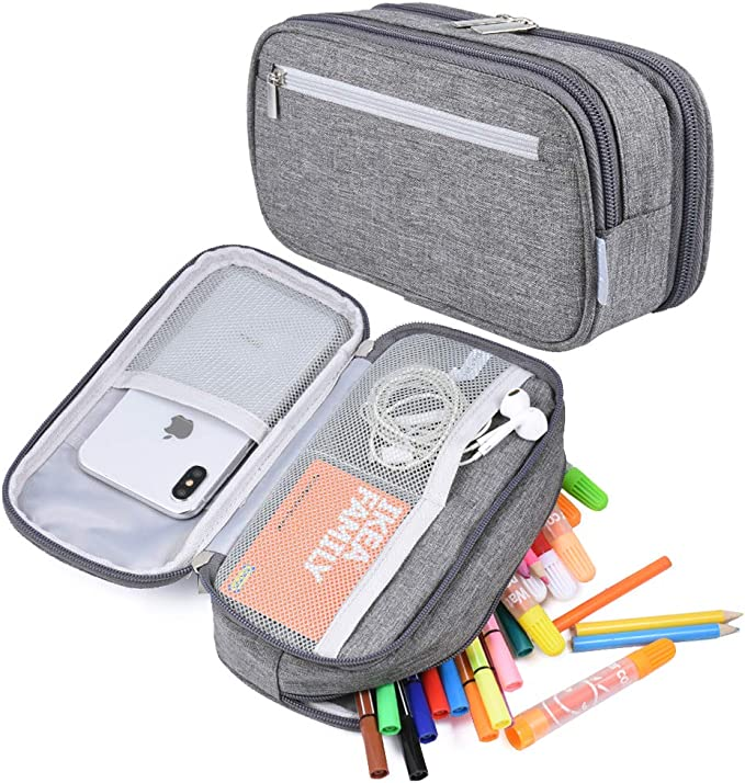 Amazon Com Big Capacity Pencil Case Pen Case Pencil Bag Pouch Pencil Holder Marker Stationery Desk Organizer Pencil Cases With Large Storage Compartment For Middle High School College Office Supplies Gray