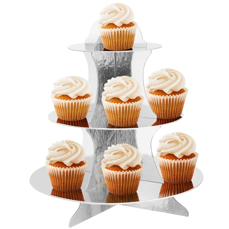 TRIXES Supporto a 3 Piani in Cartone Riutilizzabile Dorato per Cupcake Muffin