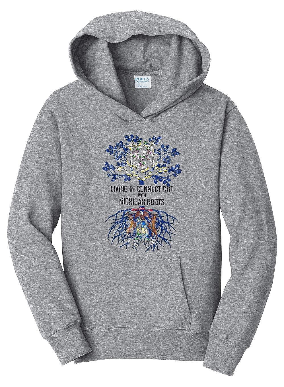 Tenacitee Girls Living in Connecticut with Michigan Roots Hooded Sweatshirt