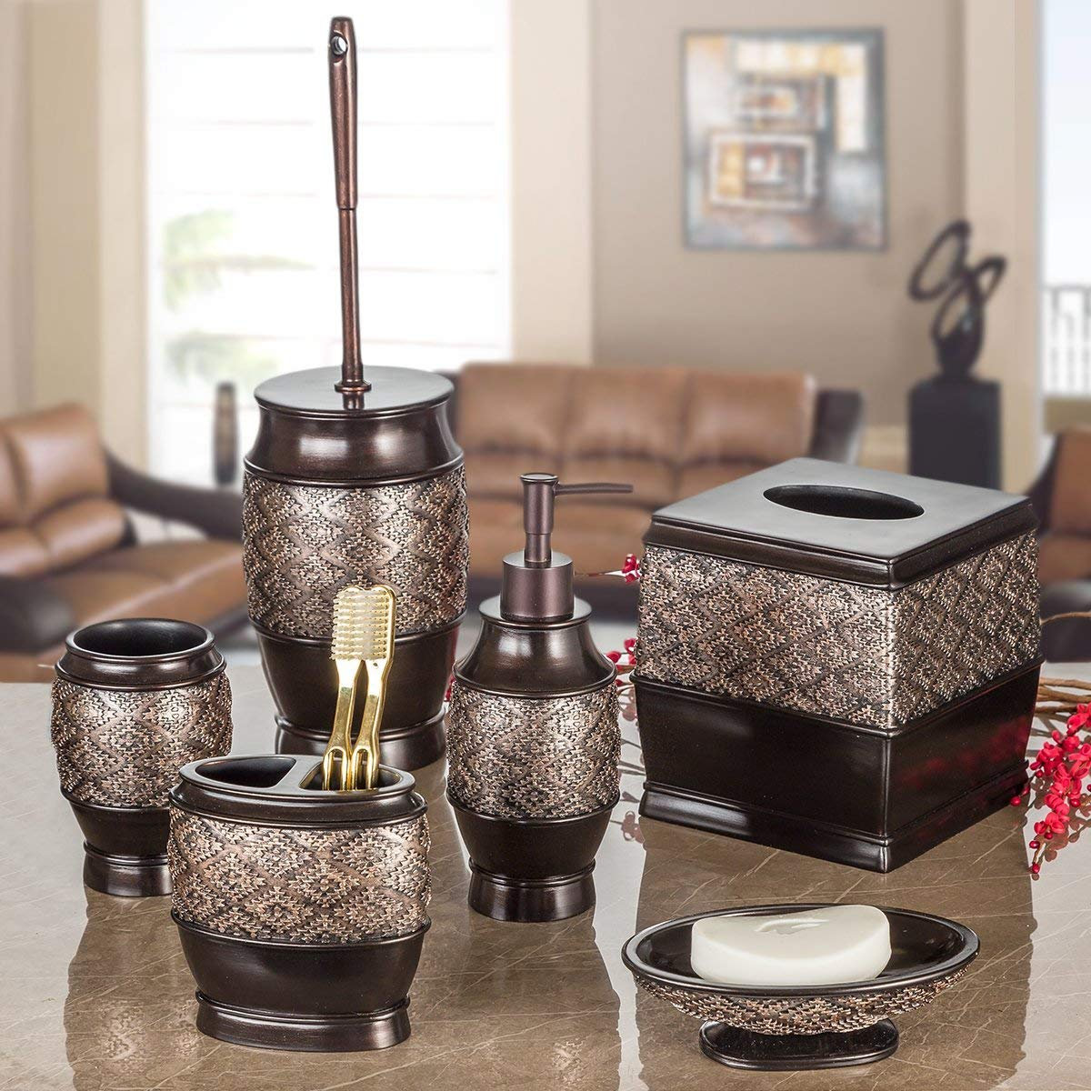 Dublin 6-Piece Bathroom Accessories Set, Includes Decorative Countertop Soap Dispenser, Soap Dish, Tumbler, Toothbrush Holder, Tissue Box Cover and Toilet Bowl Brush (Brown) by Creative Scents (Image #2)