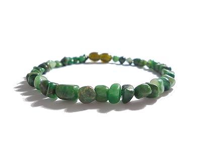 Bracciale elasticizzato in pietra giada verde africano verde