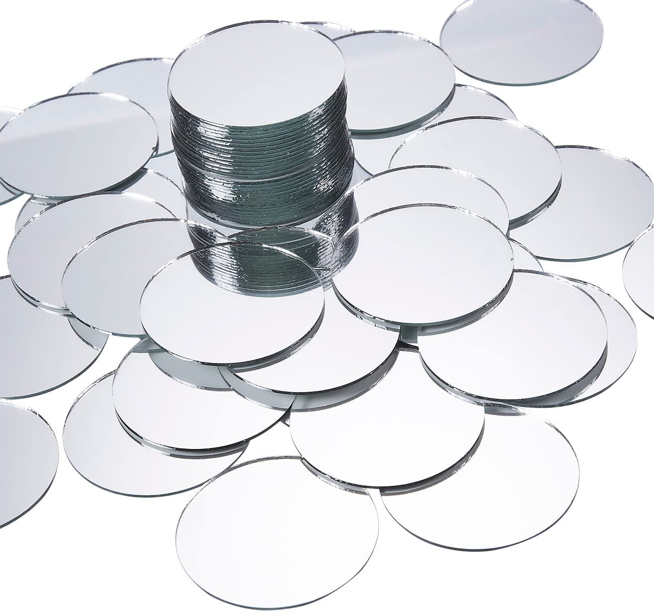 50 Pack 4 Inch Decorations Craft Round Mirror Tiles for Crafts
