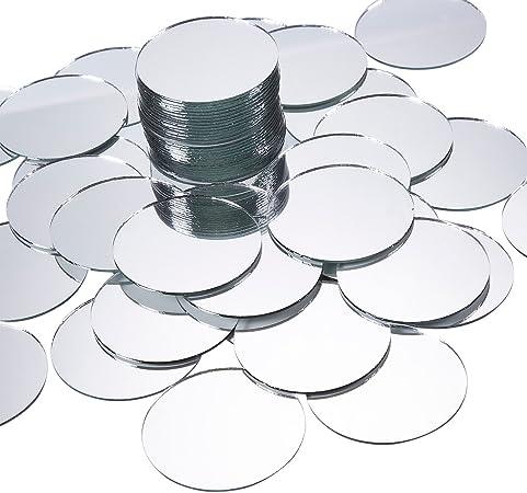 miroirs Acrylique 3 mm Pack de 10 x 7 cm de diamètre cercle mosaïque miroir argent carreaux