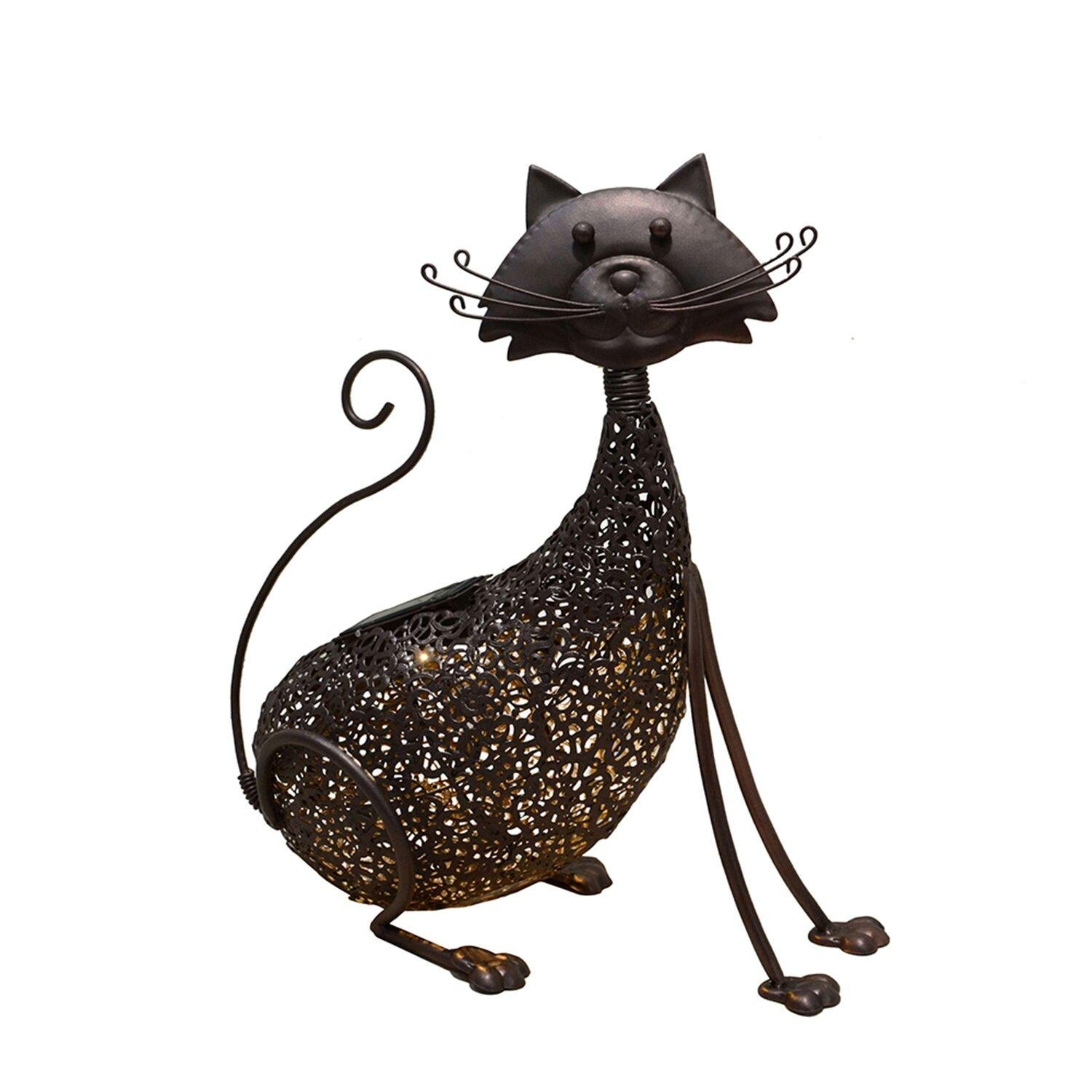 """CC Outdoor Living 15"""" LED Solar Lighted Brown Steel Cat Outdoor Garden Statue by CC Outdoor Living"""
