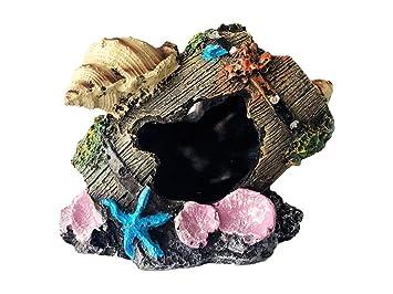 Meiliy Resin - Decoración de barril de acuario roto para pecera, adorno de acuario, cuevas acuáticas: Amazon.es: Productos para mascotas