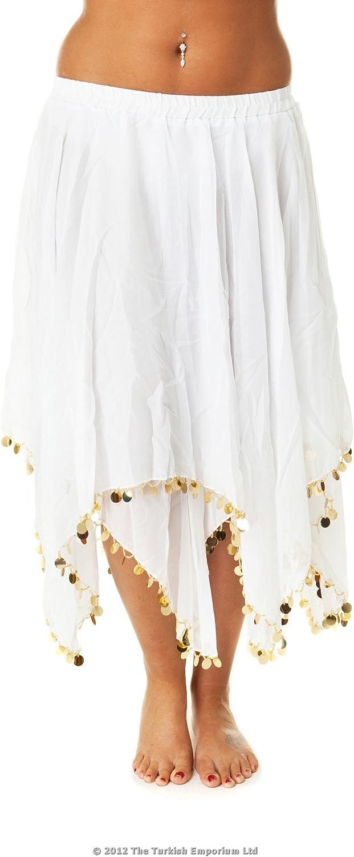 Turkish Emporium falda danza oriental (blanco dorado)