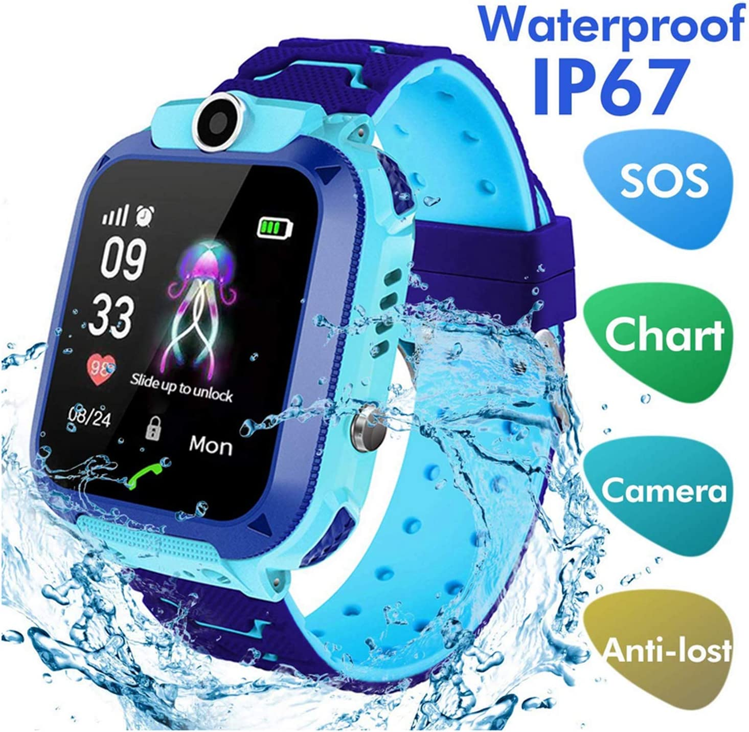 LDB Direct Kids Smartwatch Waterproof LBS/GPS Tracker with Phone SOS Camera Alarm Clock Screen Games for 3-12 Year Old Boys Girls Great Gift (Blue)