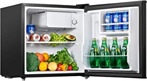 Mini Fridge 1.6 Cu.Ft Mini Refrigerator with Small Freezer, Energy Star Reversible Door Small Fridge Drinks Food Beer Storage for Bedroom, Office or Apartment, 110V & 120V