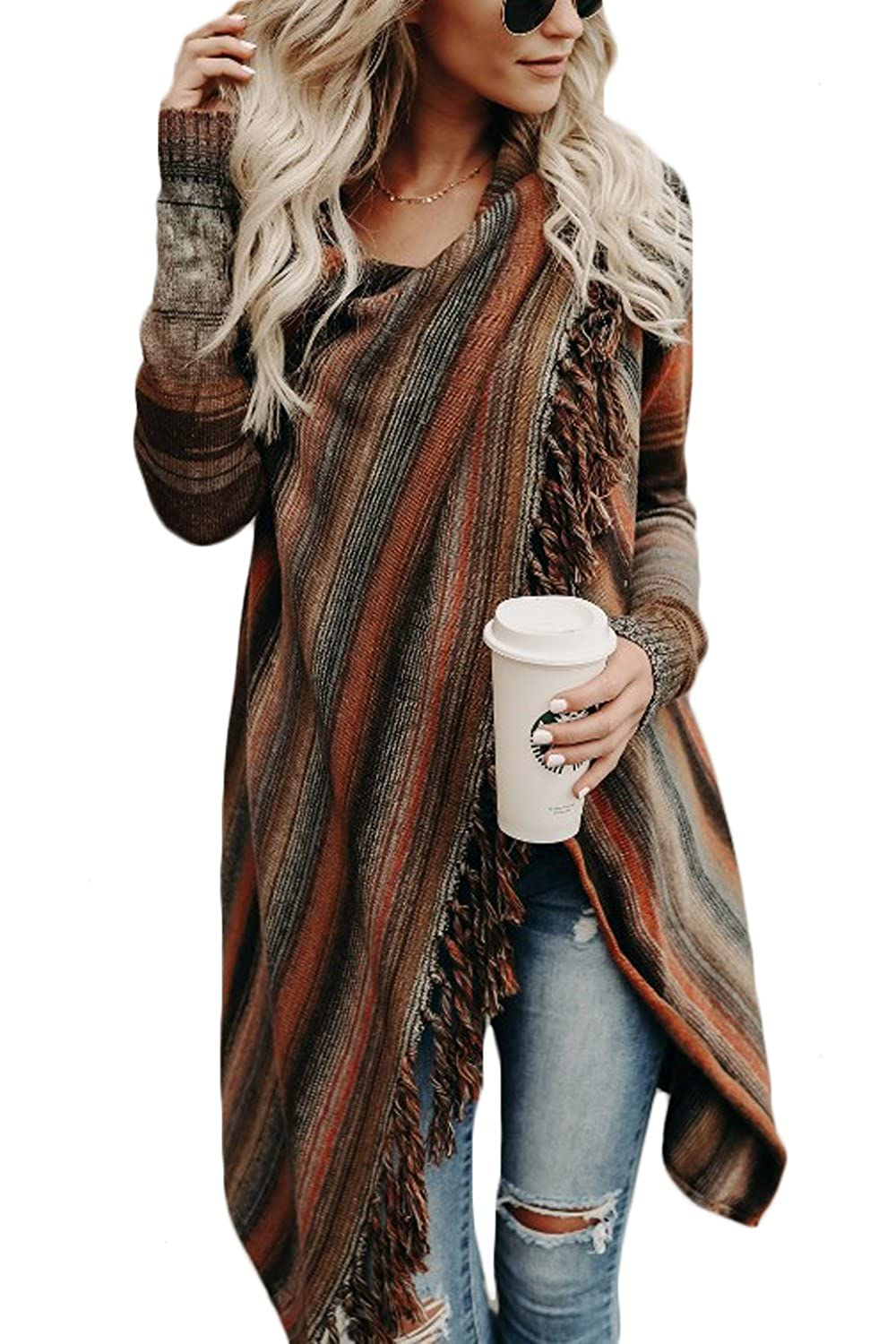 Jumojufol Womens Cardigan Sweaters Tassel Knit 1 Button Stripes Wrap Outwear