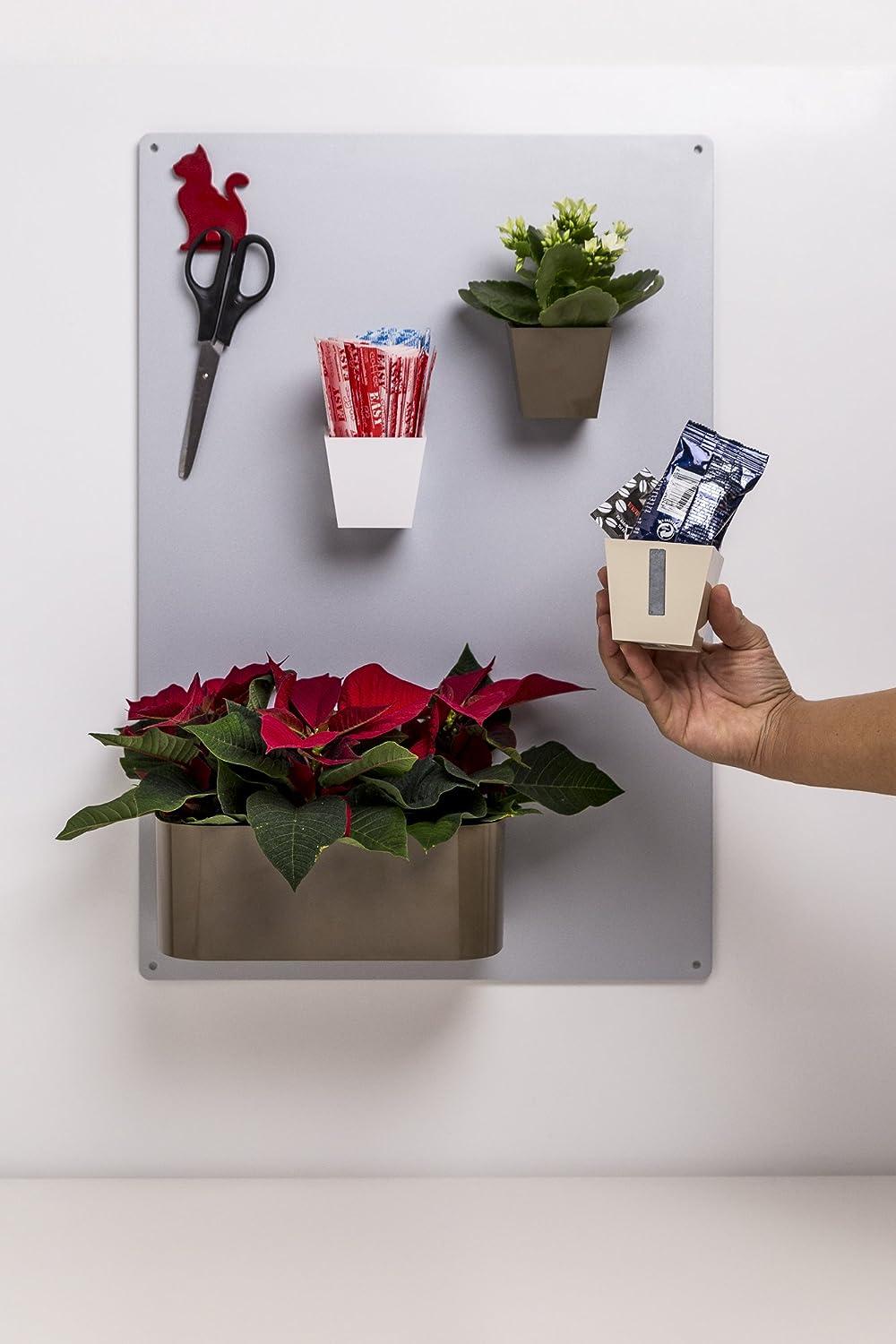 KalaMitica Magnetischer Kasten 2 Blument/öpfe /Ø 10,5 cm Bleifarbe
