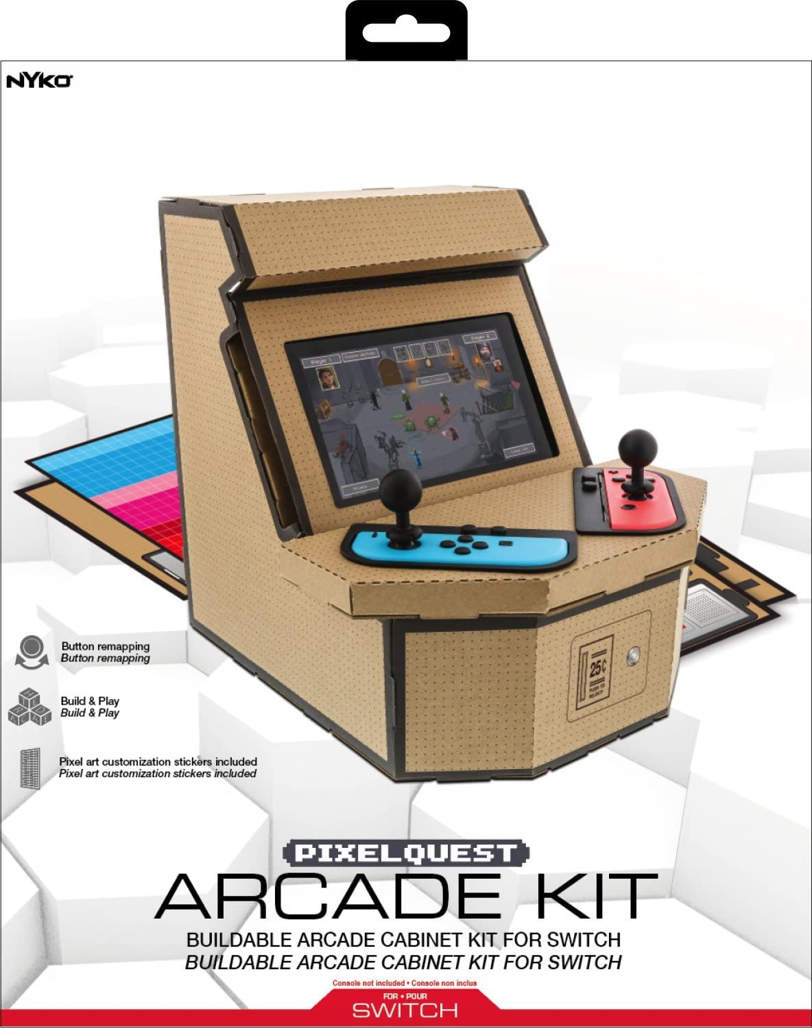 Nyko PixelQuest Arcade Kit - Constructible Arcade Kit with Customizable Pixel Art Sticker Kit and Arcade Stick Toppers for Nintendo Switch [ ] [Importación alemana]: Amazon.es: Videojuegos