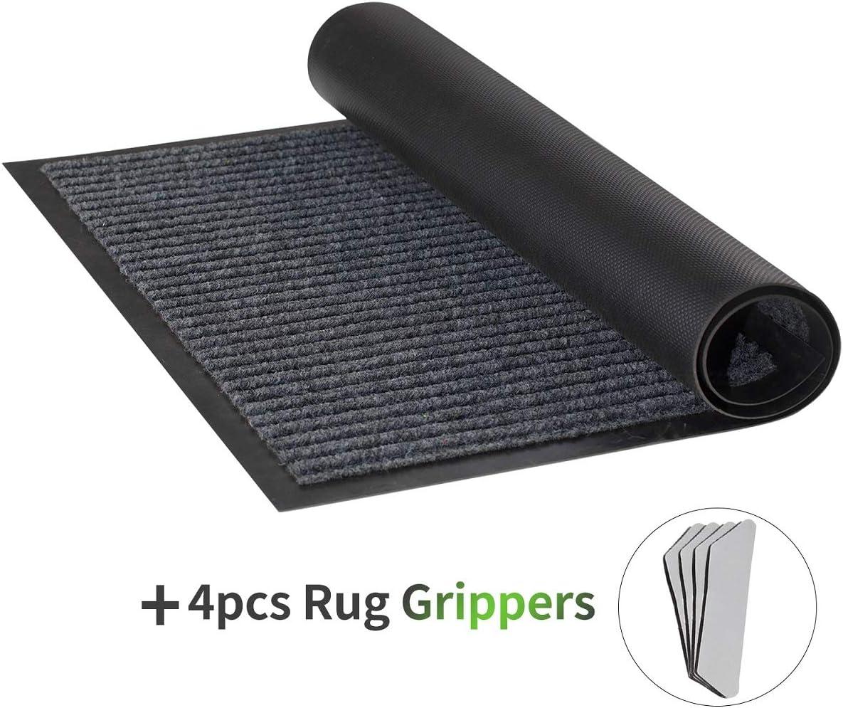 """Coxtnbio Indoor Outdoor Front Door Mat - Non Slip Rubber Floor Mat Heavy Duty Welcome Mat Entrance Doormat, Shoe Scraper, Waterproof, Low-Profile (17"""" x 30"""", Gray)"""