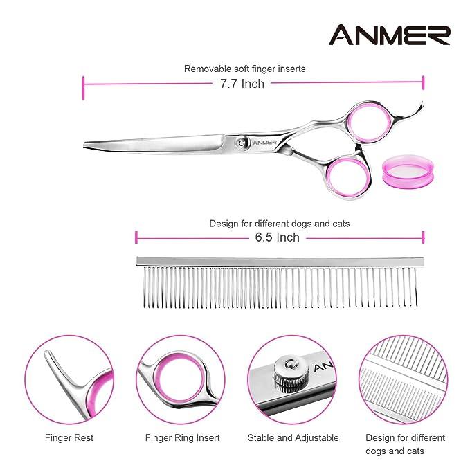 Amazon.com: ANMER - Kit de tijeras para aseo de mascotas (4 ...