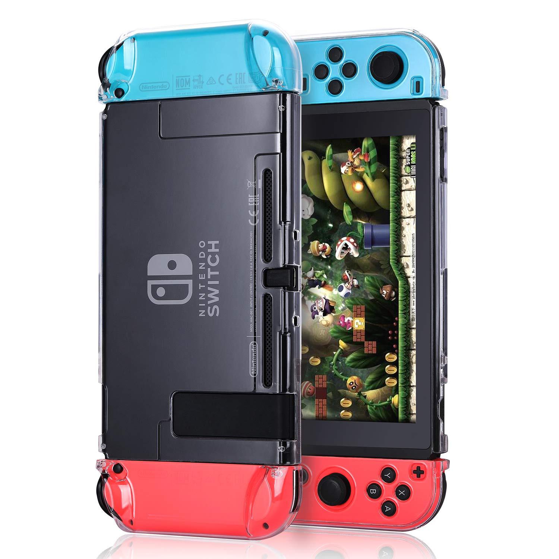 Bisikor Funda Compatible con Nintendo Switch Cristal Clear Carcasa Protectora Compatible con Nintendo Switch Console y Joy-con Controllers ...