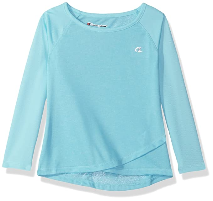 3ec5c33af Champion Little Girls Long Sleeve Performance Active Raglan Tee, Blue Fish 6