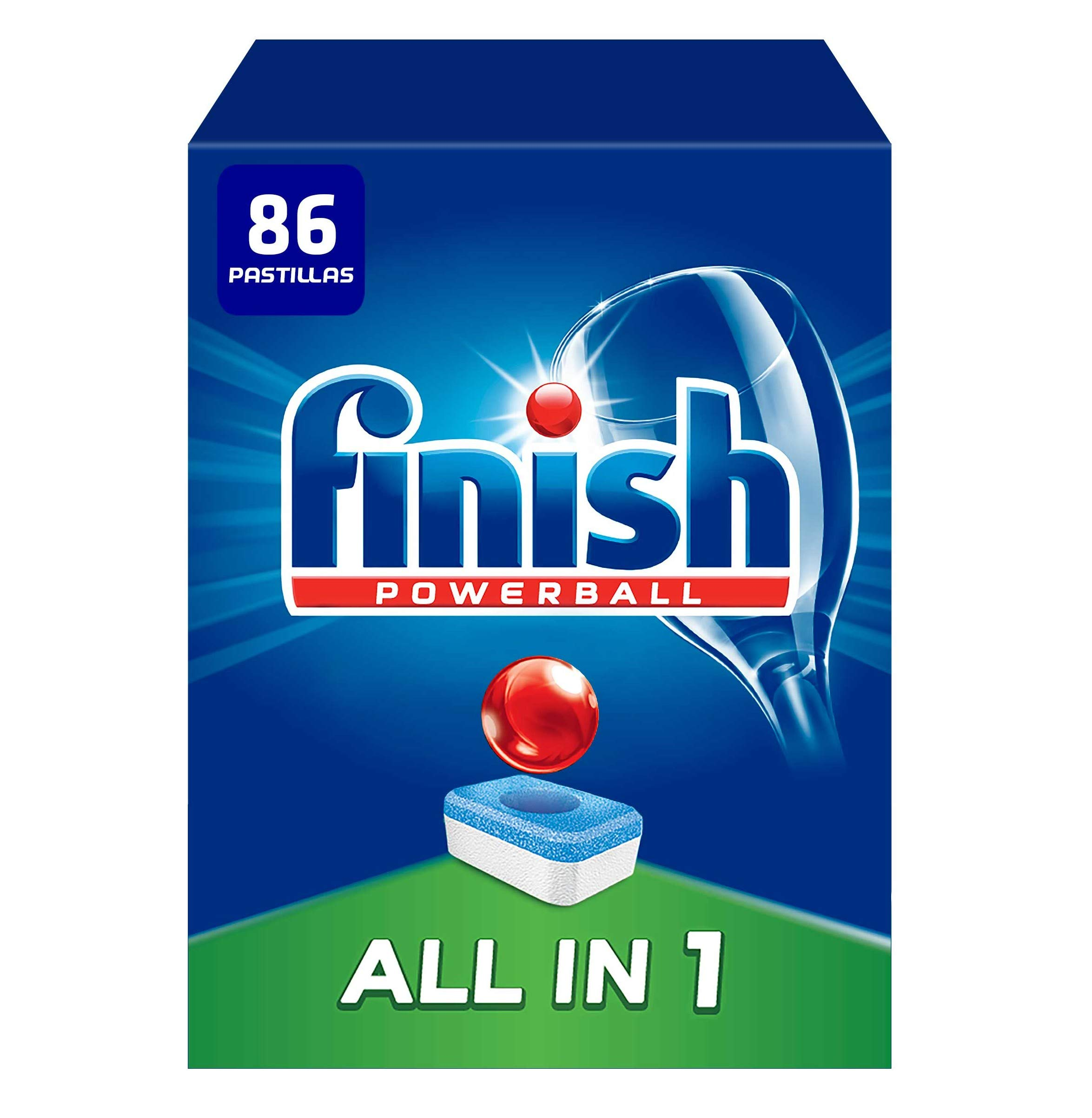 Finish Powerball All in 1 Original - Pastillas para el Lavavajillas Todo en 1, Fragancia Limón, Formato 86 Unidades