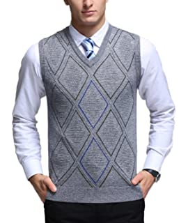 MMCP Men Casual Business V-Neck Slim Sleeveless Knit Sweater Vests