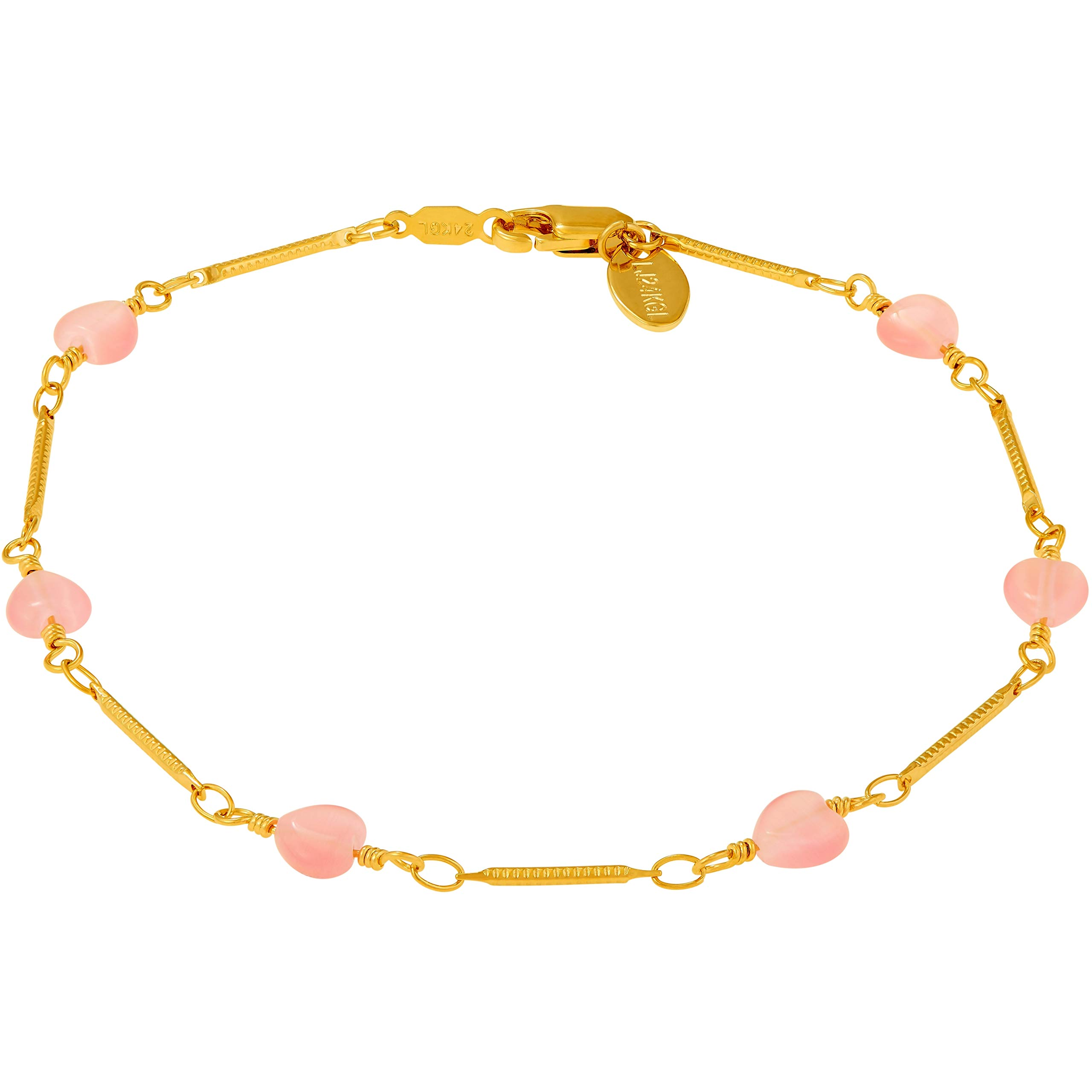 Lifetime Jewelry Ankle Bracelet for Women and Teen Girls [ 24k Gold Plated Pink Hearts Anklet ] Cute & Durable Foot Jewelry for Beach or Party with Free Lifetime Replacement Guarantee (11.00)