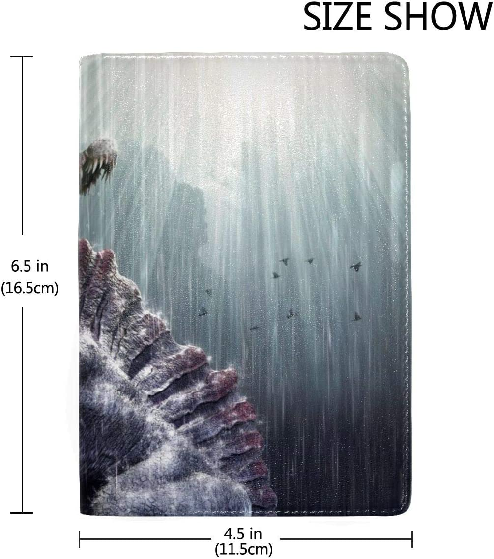 Roaring Dinosaur In The Rain Fashion Leather Passport Holder Cover Case Travel Wallet 6.5 In