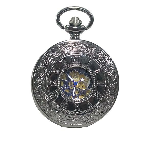 Hige grado reloj de bolsillo negro romano retro vintage cuarzo reloj de bolsillo números romanos reloj de bolsillo de Steampunk: Amazon.es: Relojes
