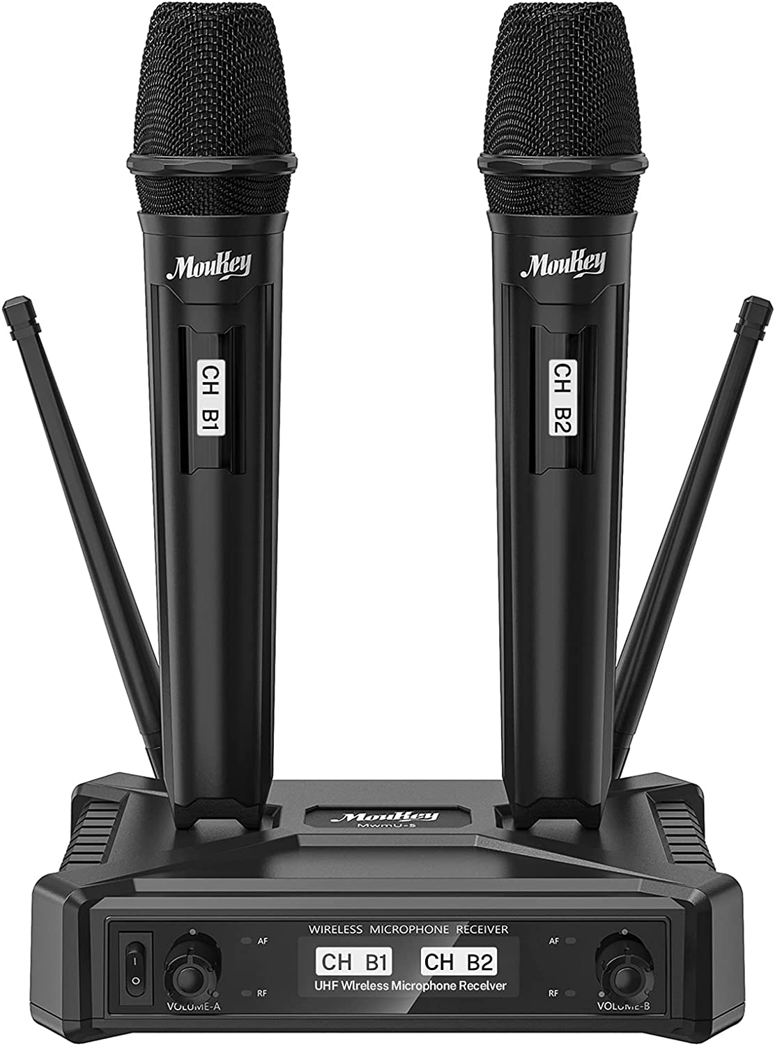 Moukey Wireless Microphones System, Dual UHF Dynamic Microphone Handheld Wireless Mic System with 295ft Range for Home Karaoke, Meeting, Party, Church, Wedding, Meeting, Party, Church, KTV