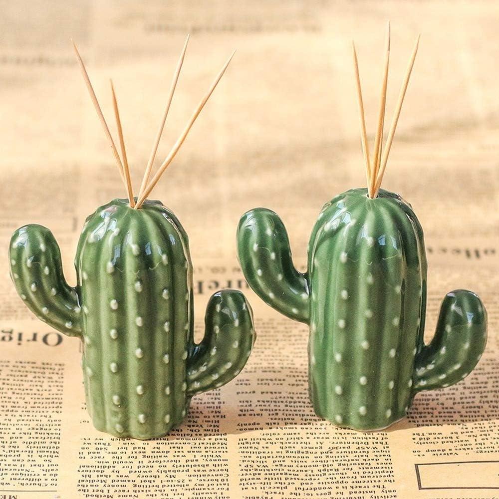 2 piezas dispensador de palillos de dientes de cer/ámica estilo simple creativo lindo cactus ba/ño organizador hogar