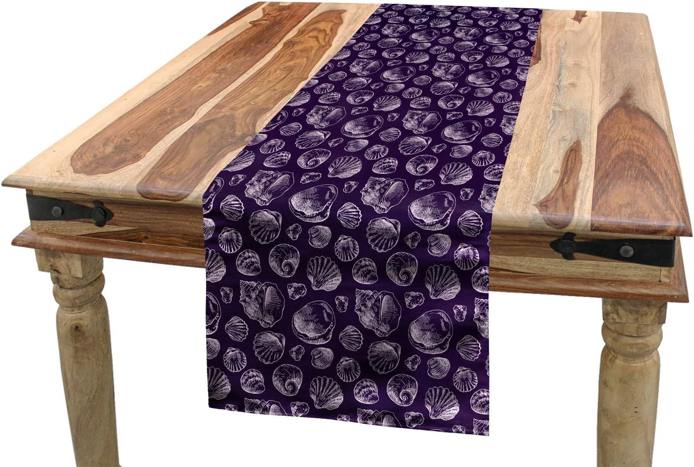 Amazon Com Lunarable Seashells Table Runner Hand Drawn Sketches Of A Variety Of Mollusk Shells Scallop And Oysters Dining Room Kitchen Rectangular Runner 16 X 120 Dark Purple And White Home Kitchen