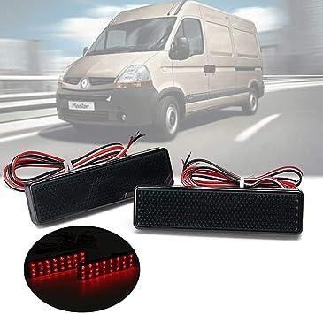 Black Smoked Lens LED Rear Bumper Reflector Light Vauxhall Renault Nissan Opel