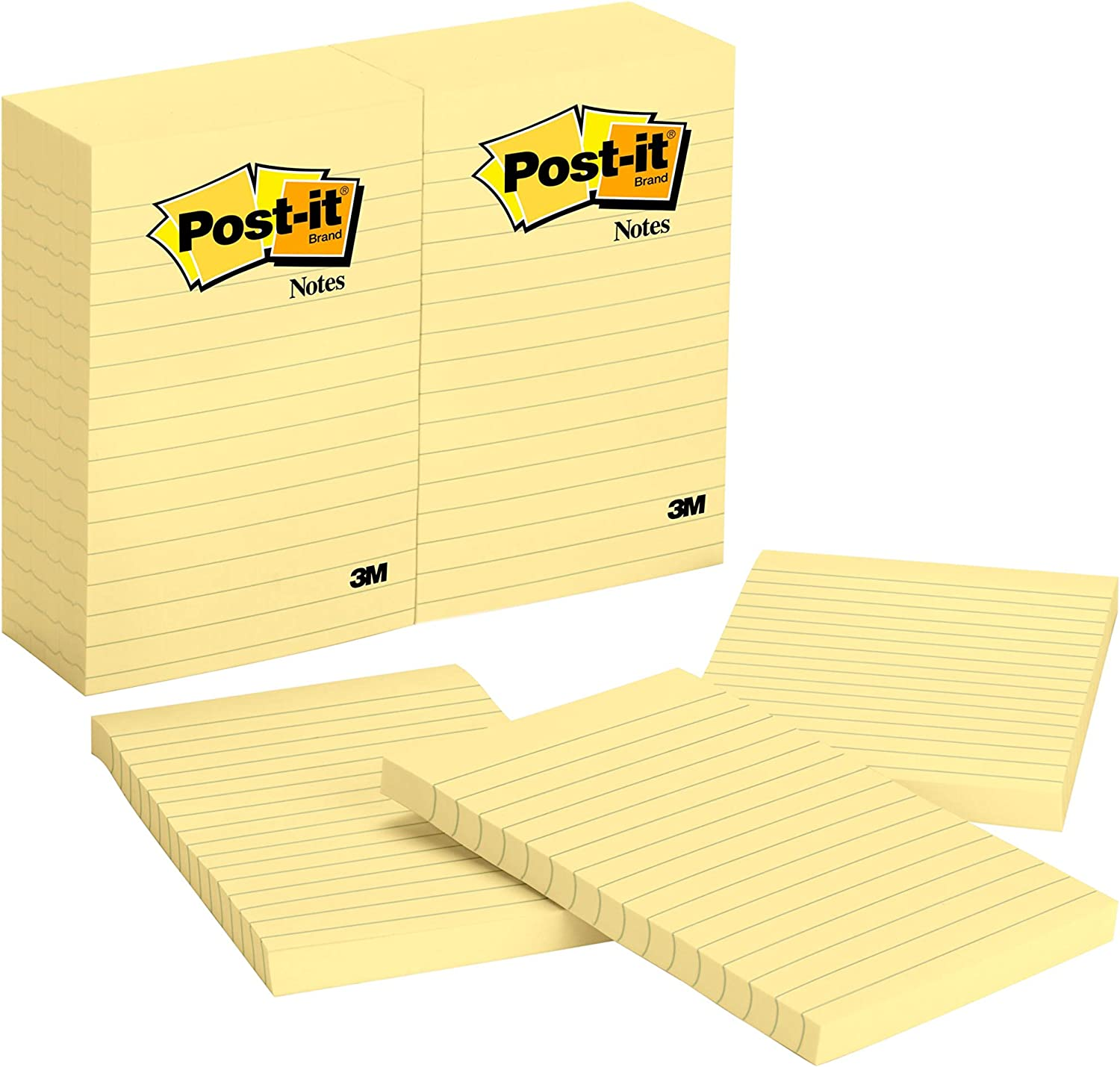 300-Sheets//Pad 2-Pads//Pack Lined 4 x 4-Inches 3M Post-it Notes America/'s #1 Favorite Sticky Note 675-YL-2PK Canary Yellow