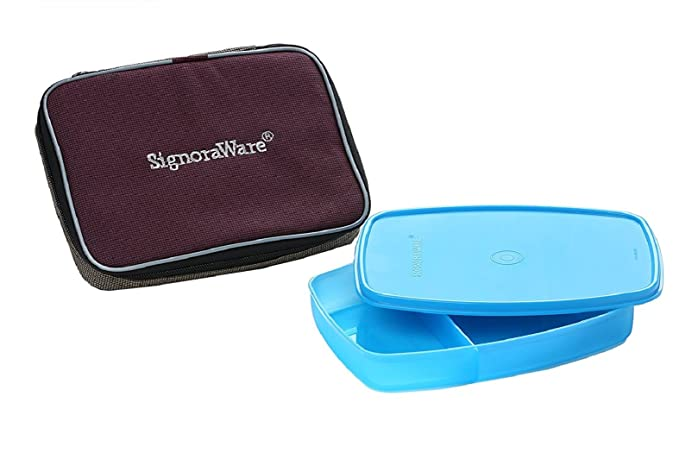 Signoraware Slim Plastic Lunch Box with Bag Set, 2 Pieces, Turkish Blue Kitchen Storage   Containers