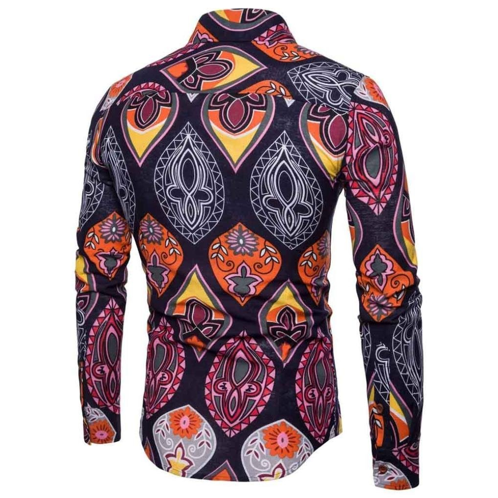 Amazon.com: kaifongfu Mens Long Sleeve Shirt,Business Slim Fit Long Sleeve Shirt for Men Print Blouse Top: Clothing