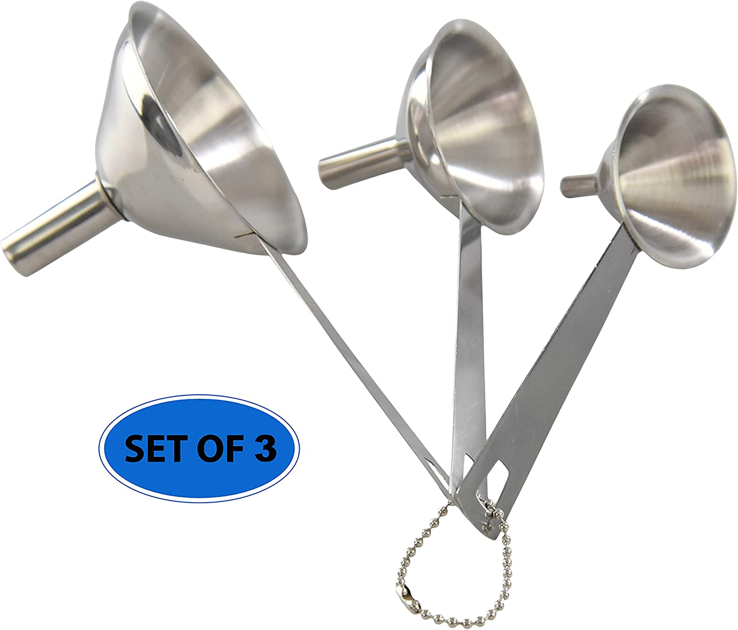HOME-X Stainless Steel Miniature Funnel with Narrow Stem, Mini Kitchen Tools - Set of 3