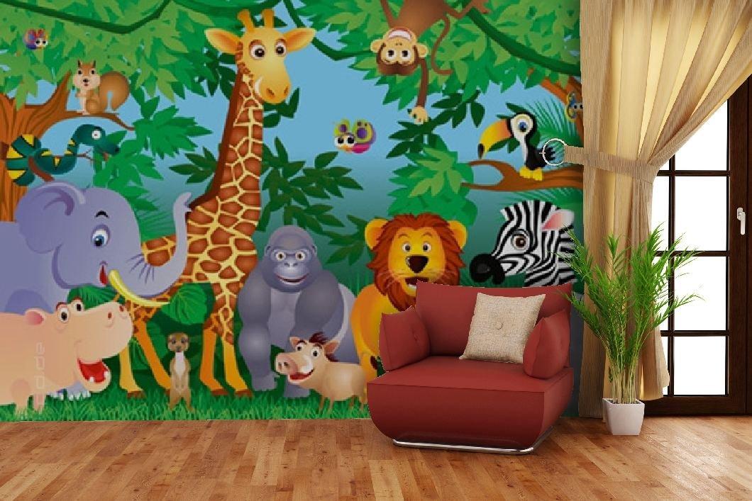 Fototapete Dschungel Comic Giraffe Lowe Elefant Tiere Zebra Nashorn