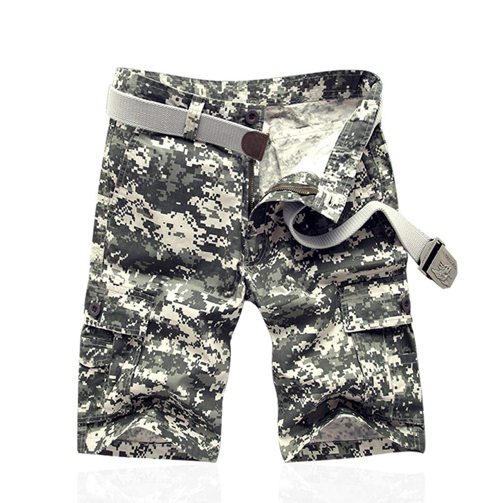 Shorts for Men, F_Gotal Men's New Casual Multi-Pocket Camouflage Buttons Zipper Big&Tall Cargo Pants Shorts Sweatpants