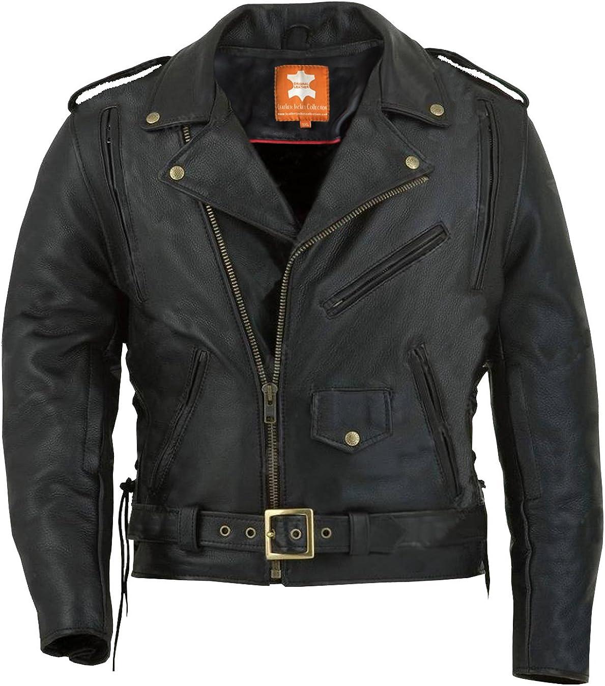 Real Cowhide Heavy Weight Original Leather Black Color Biker Jacket Thick Gauge