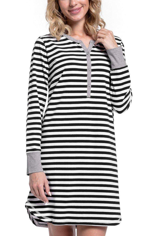 Yacun Camisi/ón Lactancia Camiseta Raya Premam/á Vestido para Mujeres Embarazadas Camison Lactancia Hospital Manga Larga