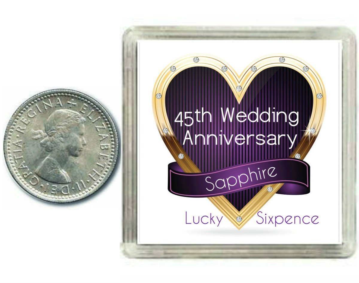 Lucky Sixpence Coin Sapphire 45th Wedding Anniversary Gift great present idea by Oaktree Gifts