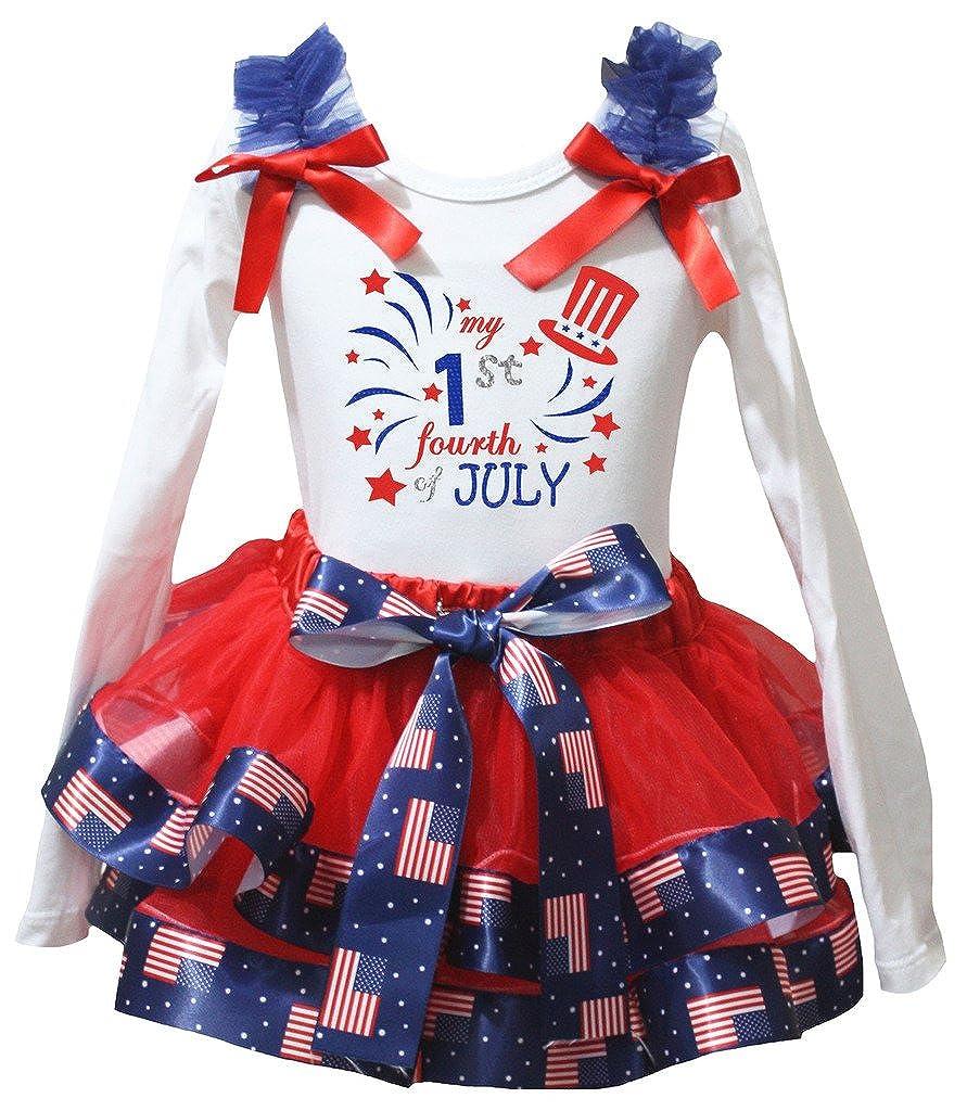 Petitebella My 1st Fourth of July Cotton L//s Shirt Stars Petal Skirt Set Nb-8y