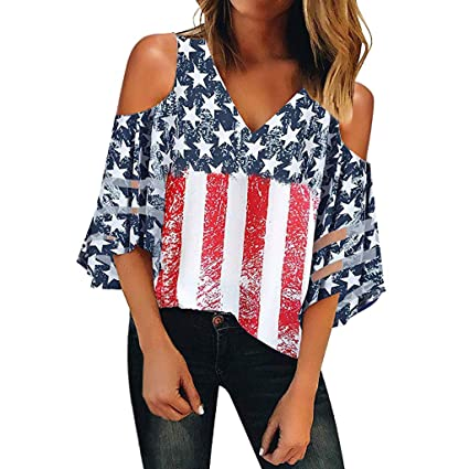 28f079d4a1c9 Amazon.com: Women's Summer American Flag Printed Mesh Off Shoulder T-Shirts  Chiffon 3/4 Sleeves V-Neck Patriotic Loose Casual Tops Shirt: Arts, ...