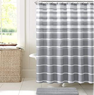 Hudson Essex Grey White Faux Linen Fabric Shower Curtain Variation Horizontal Stripe Design
