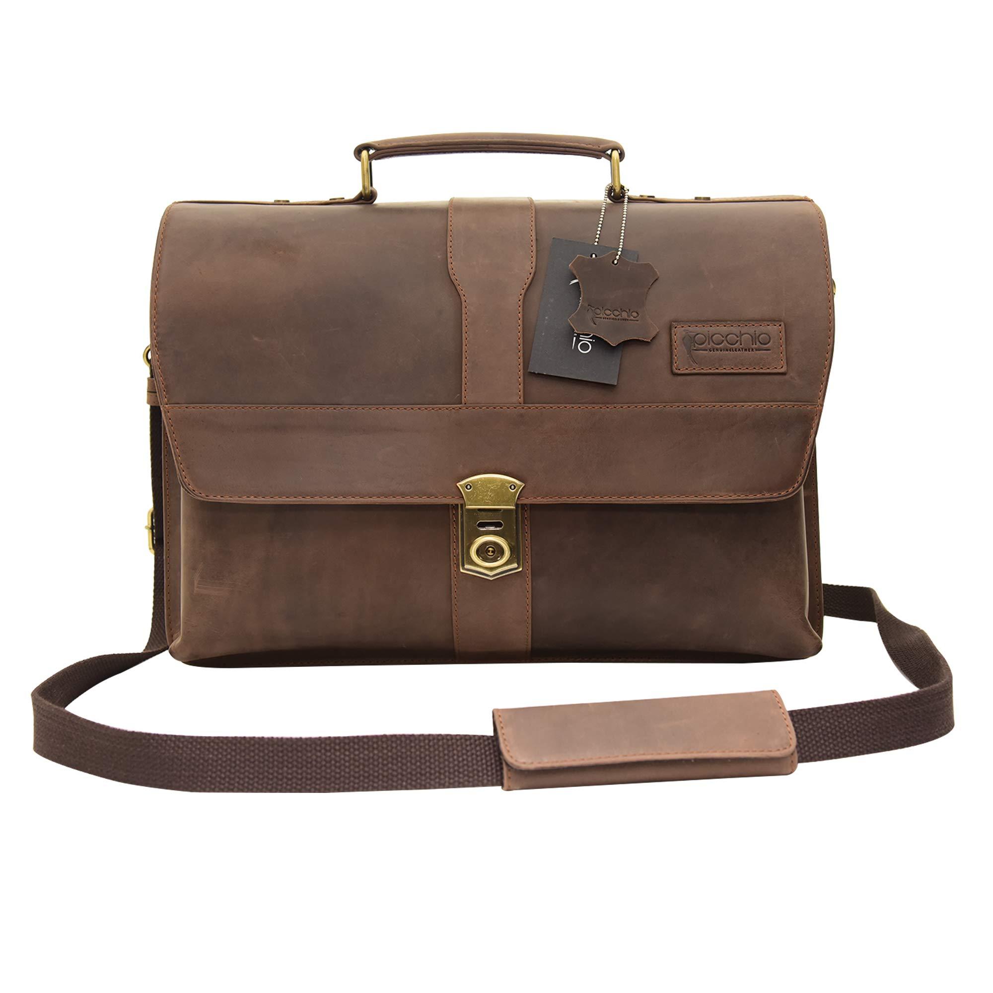 Picchio Men's Genuine Brown Leather Satchel Bag, Messenger Shoulder Bag