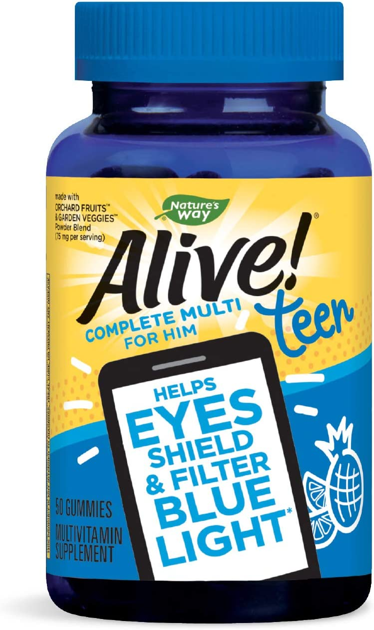 Nature's Way Alive! Teen Gummy Multivitamin for Him, Filters Blue Light, Fruit Punch Flavor