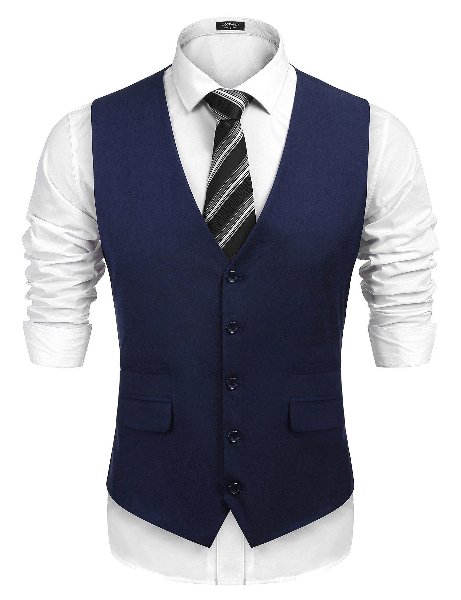 COOFANDY Men's Business Suit Vest,Slim Fit Formal Skinny Wedding Waistcoat,Navy Blue,Medium by COOFANDY