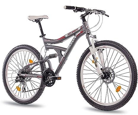 CHRISSON 26 pulgadas aluminio MTB Mountain Bike Bicicleta roaner Fully Unisex con 24 g Shimano 2 x Disk gris mate: Amazon.es: Deportes y aire libre