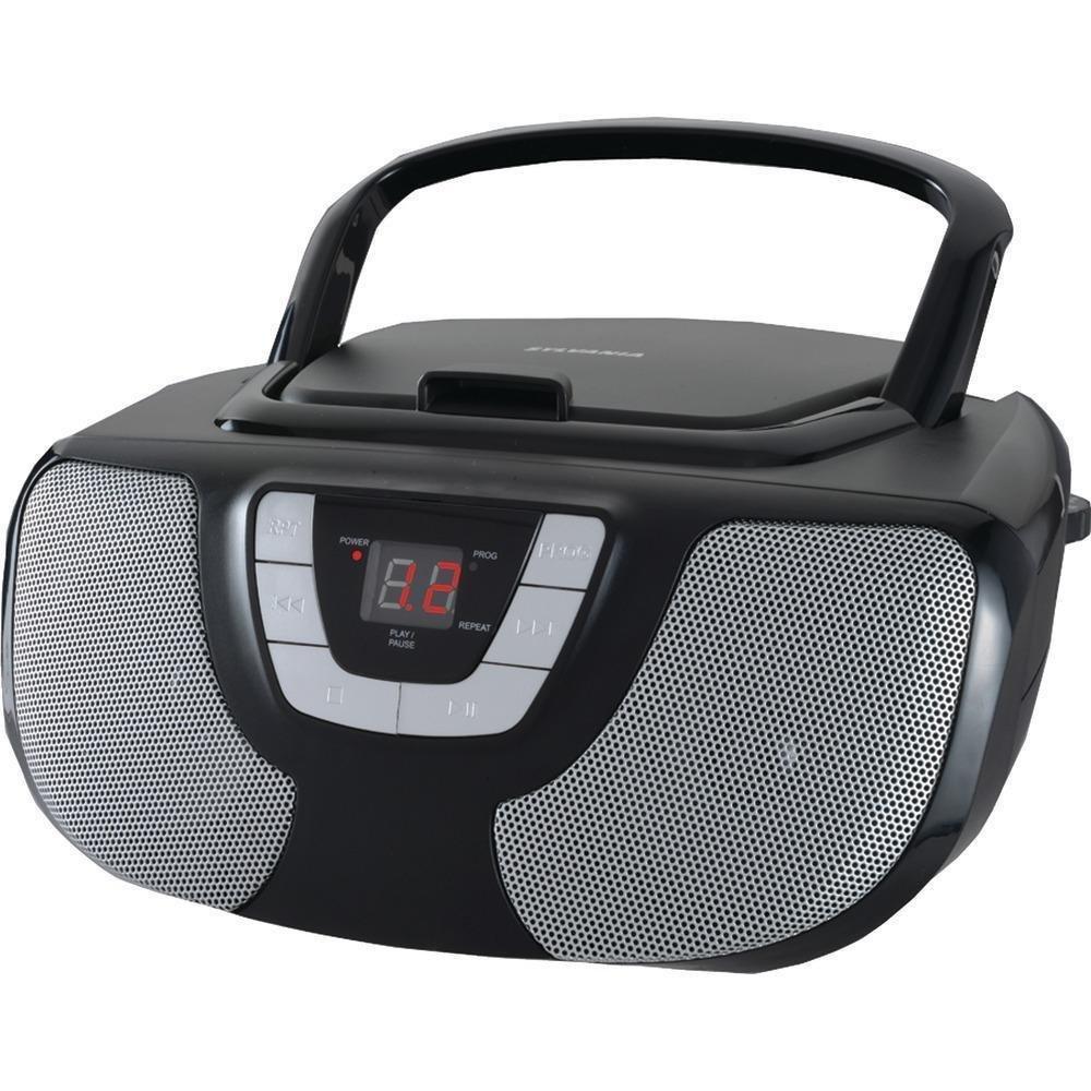 Sylvania Portable CD Player Boom Box with AM/FM Radio (Black)